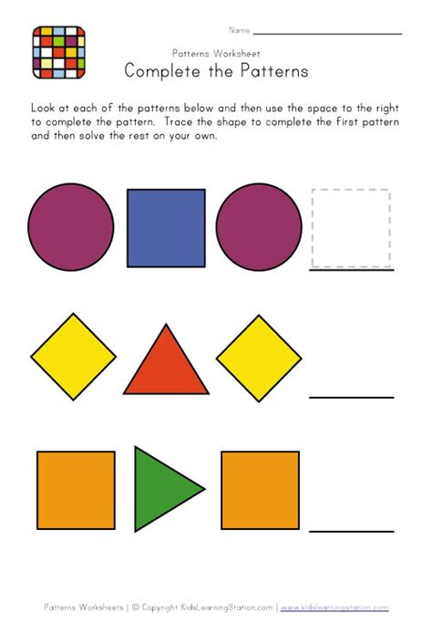 Pattern Activities Preschool | easy preschool patterns worksheet 2 kids learning station