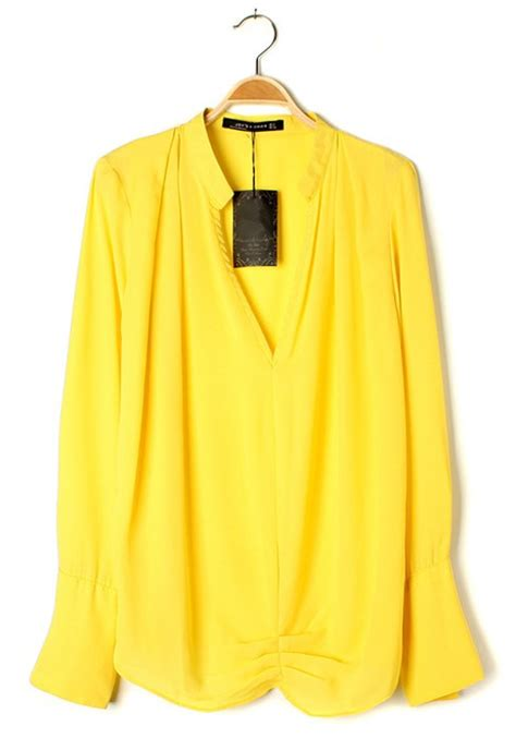 yellow ruffle v neck clipping sleeve chiffon blouse blouses tops