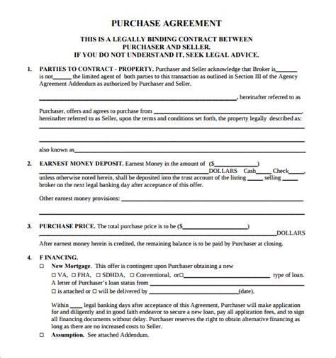 real estate purchase contract template sle real estate purchase agreement template 9 free