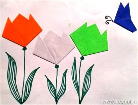 independence day crafts easy indian flag tri colour origami tulips and butterfly