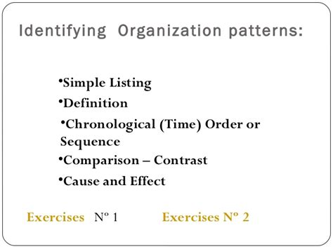 pattern of organization keywords simple listing words recognizing patterns of organization