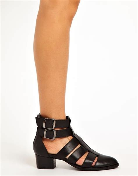 asos anticipate leather cut out ankle boots in black lyst