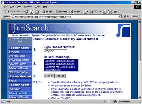 Jury Search Jurisearch 174 Tour And User Guide Search Cases Docket Number