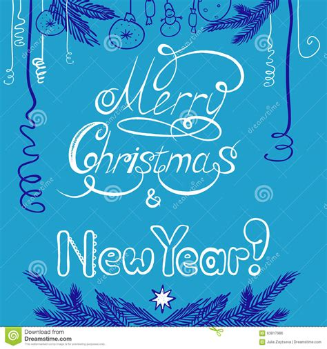 congratulations with new year and christmas postcard with