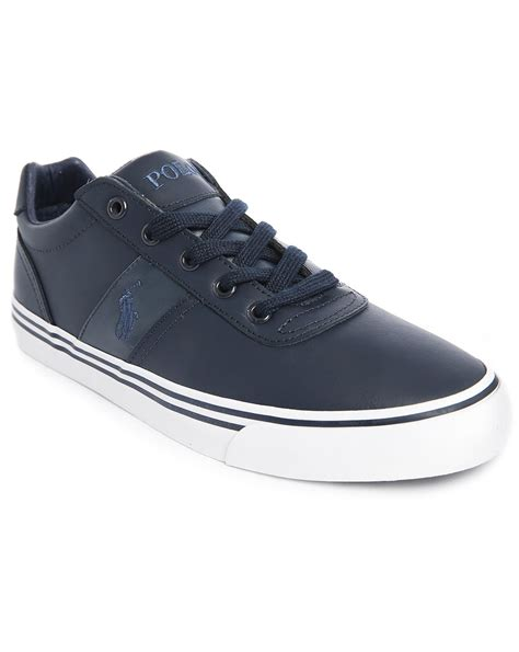 polo sneakers mens polo ralph hanford navy leather sneakers in blue