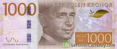 currency sek 1000 swedish kronor banknote dag hammarskj 246 ld exchange
