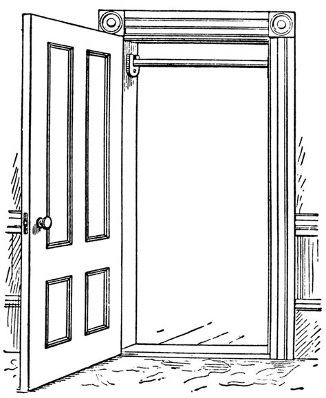 interesting open door clipart black and white with clipart door biezumd centralazdining