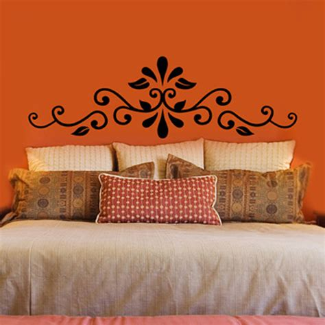headboard stencils for walls swirling henna headboard vinyl wall decal