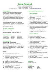 Sales Trainee Sle Resume by Trainee Sales Negotiator Cv Hashdoc