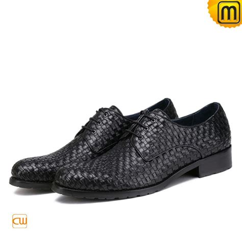 black woven leather dress oxford shoes for cw762020