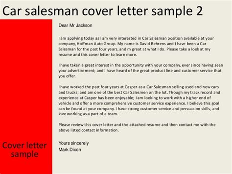 Great Sales Resume Examples by Car Salesman Cover Letter