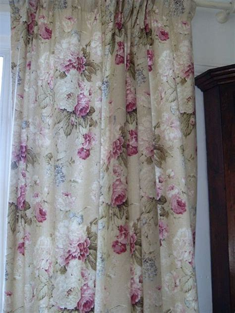 simple lined curtains vintage cabbage roses lined cotton curtains simple