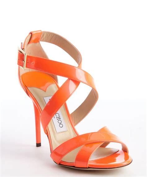orange strappy sandals jimmy choo neon orange strappy patent leather