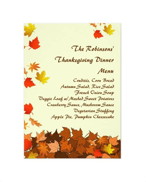 thanksgiving menu template printable 25 thanksgiving menu templates free sle exle