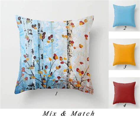 blue pillow tree pillow yellow throw pillows birch