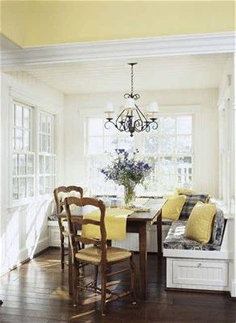 breakfast nookyellow ceiling  white walls