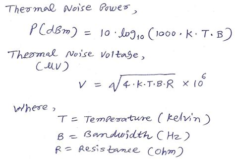 thermal noise power calculator dbm volt converters and calculators