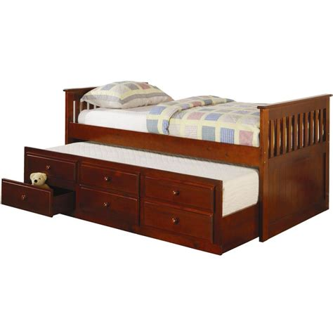 Coaster Furniture Captain Bed With Trundle Bed Cherry Captain Bed With Trundle
