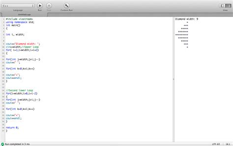 diamond pattern in c using for loop diamond pattern nested loops almost done help needed