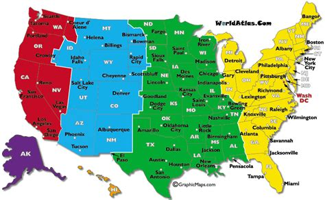 usa state time zone map