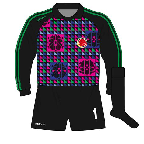 design keeper jersey adidas colombia triangles goalkeeper camiseta jersey 1990