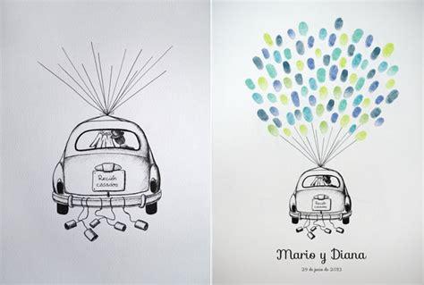 libro las huellas dispersas coche con pareja de recien casados como libro de firmas libros de firmas con huellas