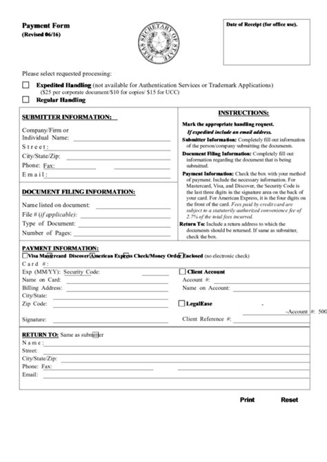 Fillable Payment Form (Fillable) - Texas Secretary Of