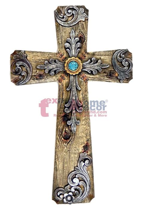 decorative crosses home decor turquoise wall cross decorative layered wood look silver