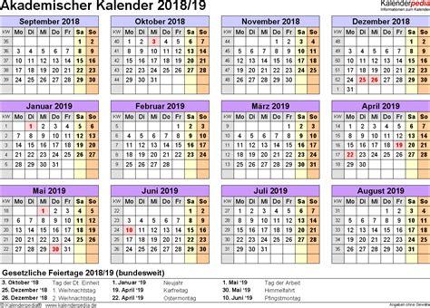 Kalender 2018 Querformat Excel Akademischer Kalender 2018 2019 Als Excel Vorlagen Zum
