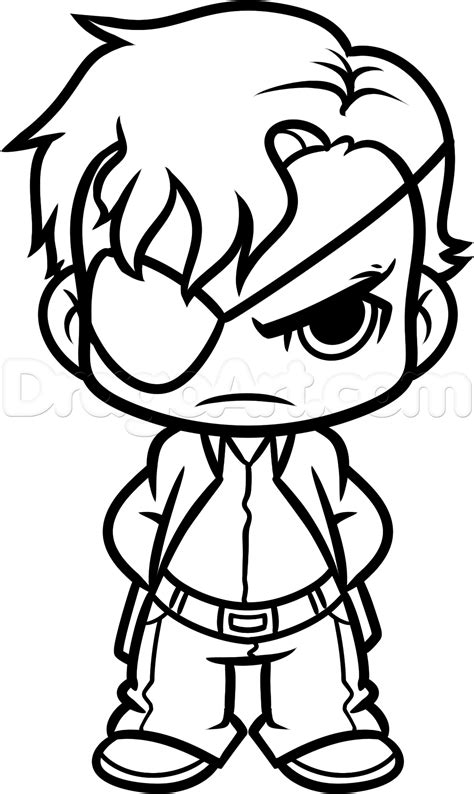 Draw Chibi Governor From The Walking Dead Step By Step Drawing Sheets Added By Dawn Coloring Pages Drawings