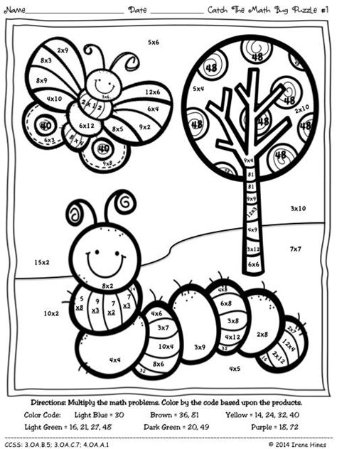 spring coloring pages math 16 best images of spring color by number multiplication