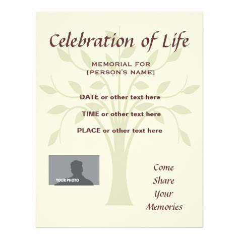 Celebration Of Templates memorial celebration of invitation flyer zazzle