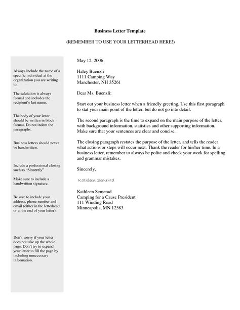 email business letter template formal business email