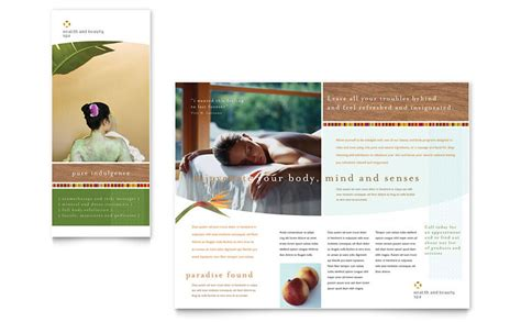 free spa brochure templates health spa brochure template word publisher
