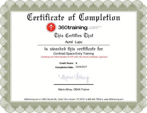 2 Confined Space Entry Osha Training Confined Space Certificate Template