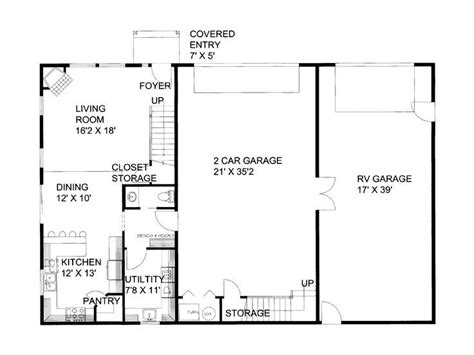 Rv Garage Plans With Apartment by Rv Garage Apartment 012g 0052 1st Floor Plan Cer Rv