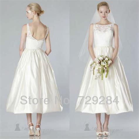 simple tea length wedding dresses delicate simple bateau a line bridal gown lace tea length
