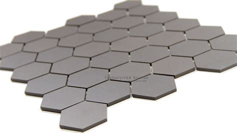 hexagon matte porcelain mosaic dark grey tiledaily