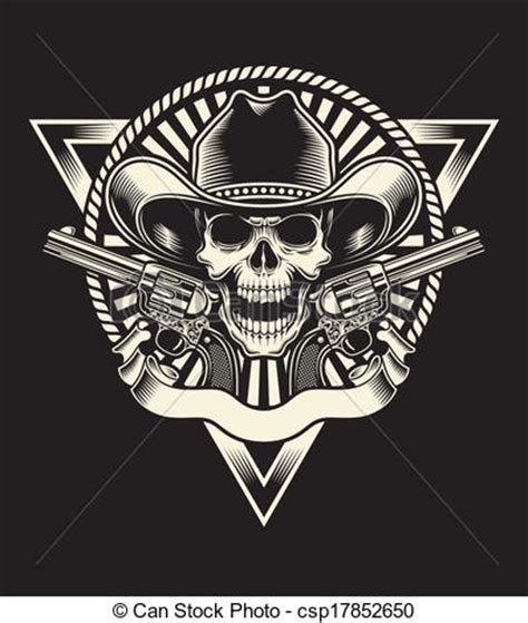 clipart vector of sheriff skull with revolver fully