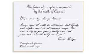 formal wedding reception card wording rsvp etiquette traditional favor accepts regrets placement 2 filled out