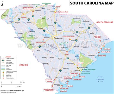 map of carolina cities buy south carolina state map