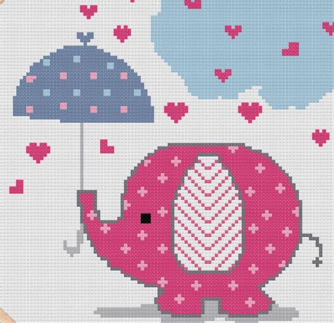 cute elephant pattern cross stitch pattern of cute pink elephant under от