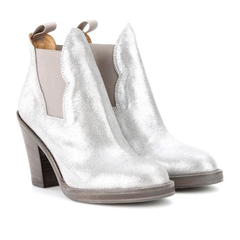 Shoe La La Silver Ankle Boots For by Lyst Acne Studios Metallic Leather Ankle Boots In