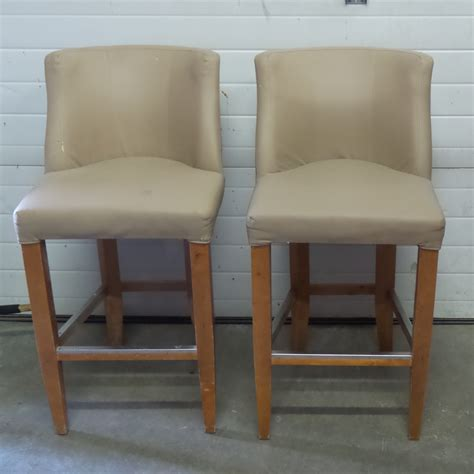 bar stools wooden legs set of tan leather bar stools w wooden legs allsold ca