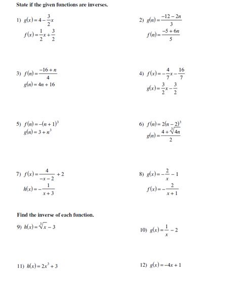 Inverses Of Functions Worksheet by Lesson Inverse Functions
