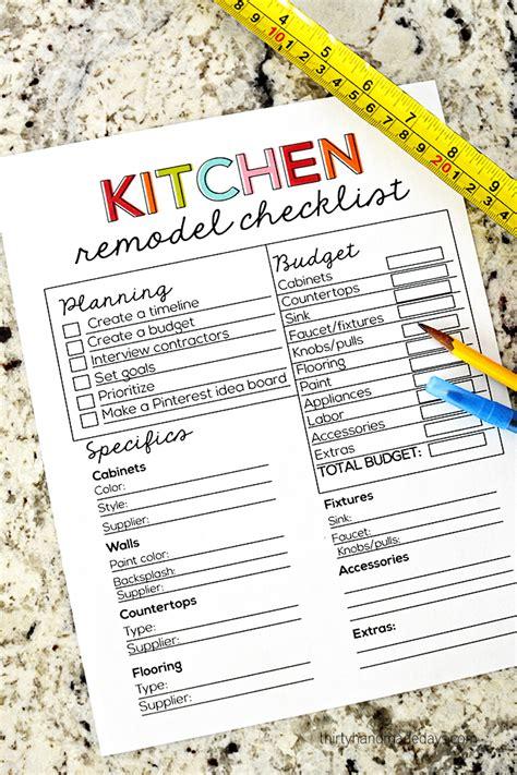 kitchen checklist for home kitchen remodel checklist
