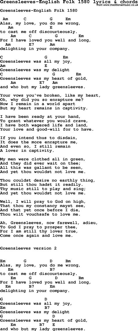 lyrics songs song lyrics for greensleeves folk 1580 with