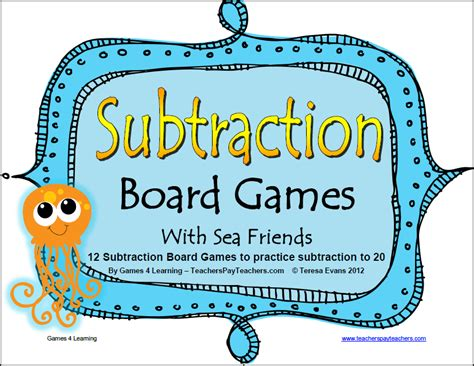 subtraction printable board games available now at
