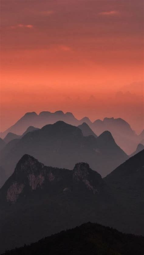 sunrise  guilin china landscape nature iphone wallpaper