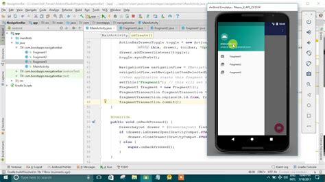 navigation drawer layout android studio android studio create navigation drawer youtube
